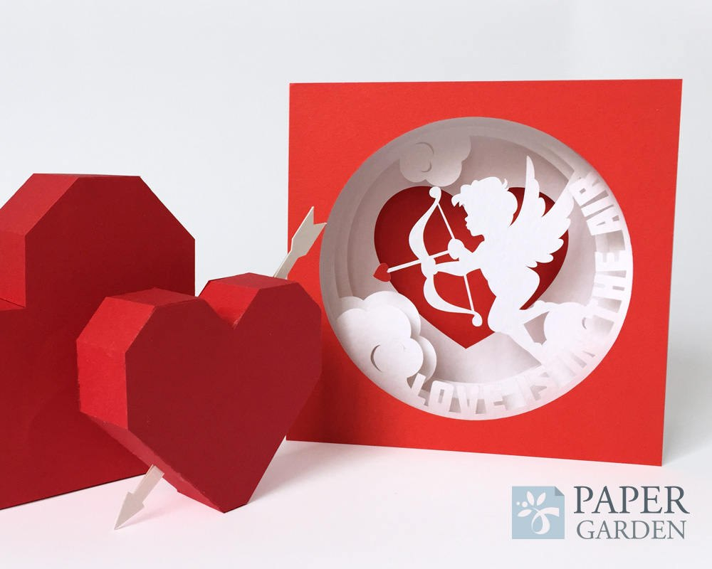 Valentine's Day Papercut Template Tunnel Card Love Is In  Etsy Intended For 3D Heart Pop Up Card Template Pdf