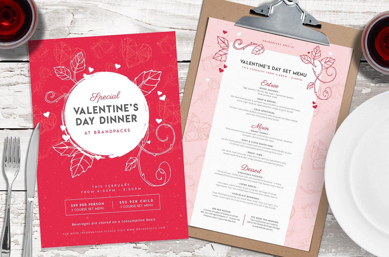 Valentines Menu Template Vol  Psd Ai  Vector  Brandpacks With Regard To Free Valentine Menu Templates