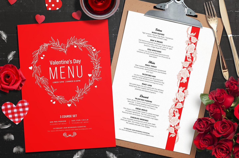 Valentines Menu Template Vol  Psd Ai  Vector  Brandpacks Within Valentine Menu Templates Free