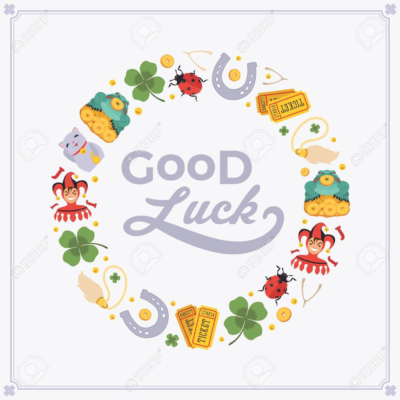 Vector Decorating Design Made Of Lucky Charms And The Words For Good Luck Card Templates