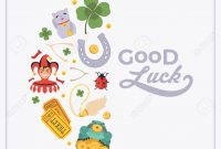 Vector Decorating Design Made Of Lucky Charms And The Words throughout Good Luck Card Templates