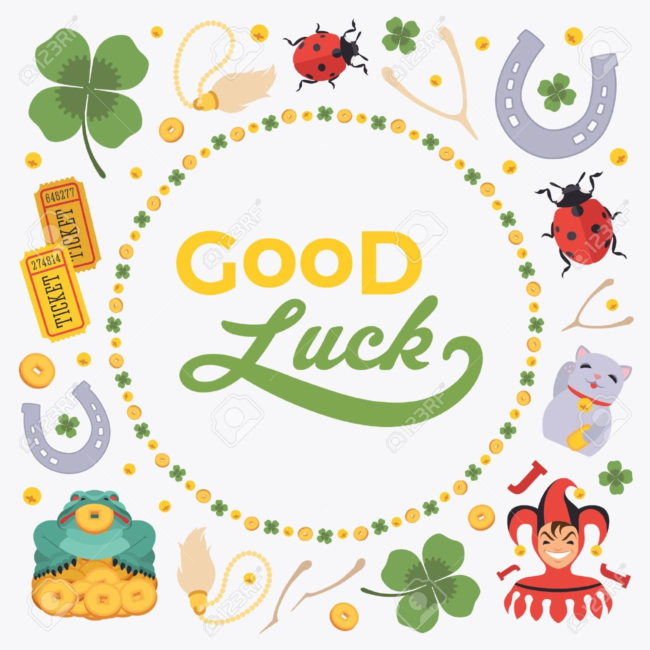 Vector Decorating Design Made Of Lucky Charms And The Words Within Good Luck Card Templates