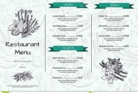 Vector Horizontal Restaurant Or Cafe Menu Template With Hand Drawn for Horizontal Menu Templates Free Download