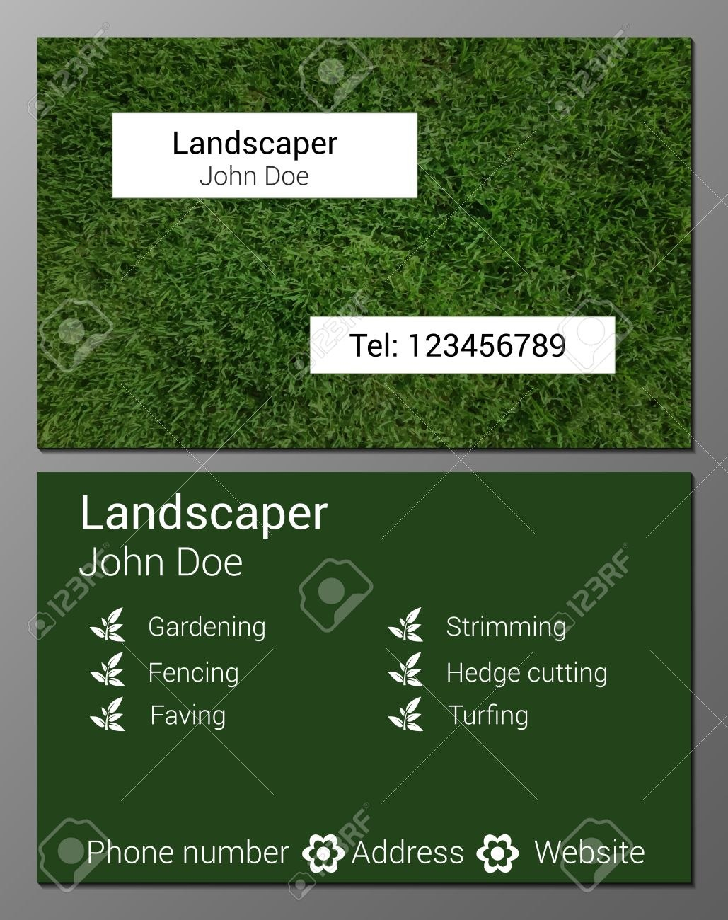 Vector Illustration Of Gardener Business Card Design Template With Gardening Business Cards Templates