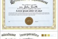 Vector Illustration Of Gold Certificate Template Horizontal pertaining to Commemorative Certificate Template