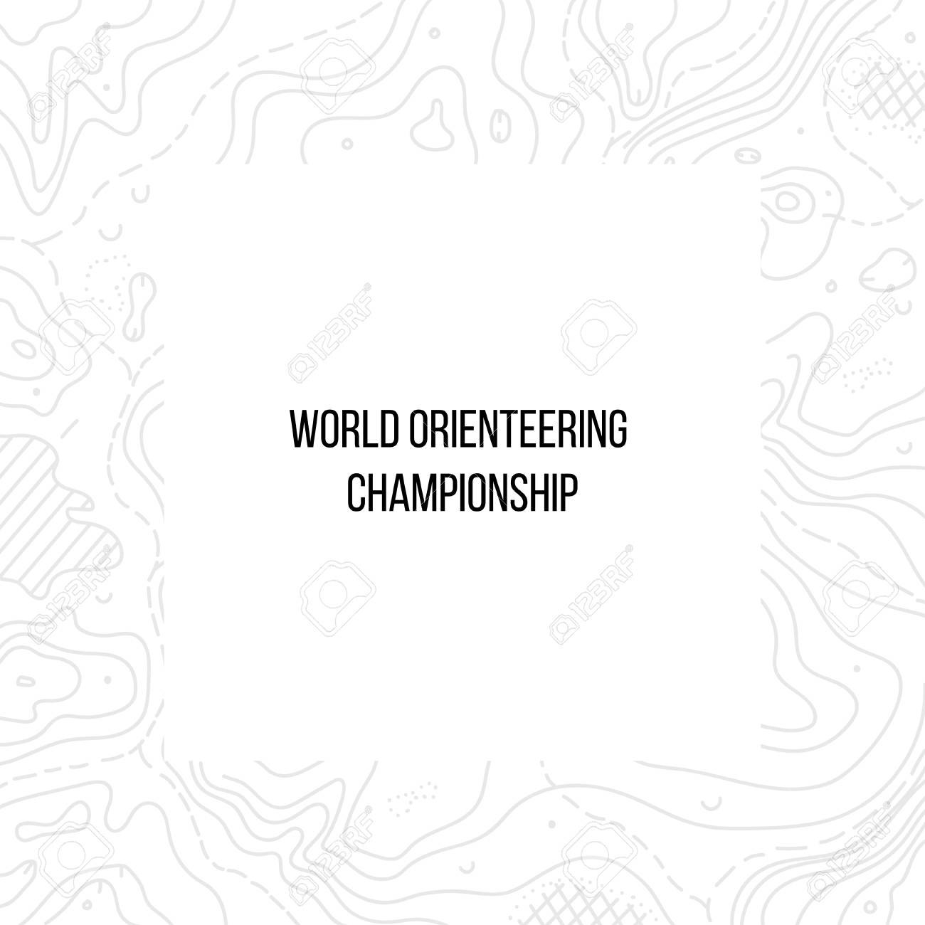 Vector Illustration Of Orienteering Map With Text Place Topo For Orienteering Control Card Template