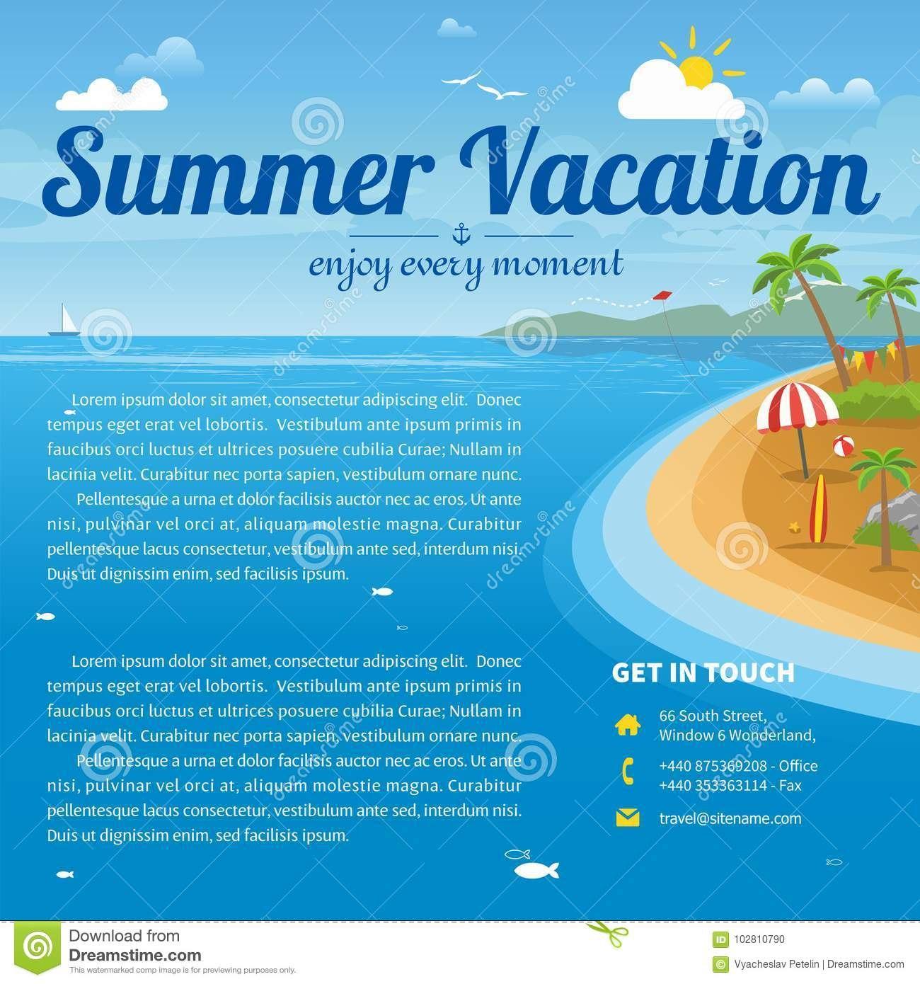 Vector Illustration Of The Sea Island Beach Background Stock Vector Inside Island Brochure Template