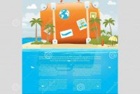 Vector Illustration Of Travel Suitcase On The Sea Island Stock for Island Brochure Template