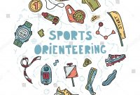 Vector Illustration Sport Orienteering Isolated Elements Stock within Orienteering Control Card Template