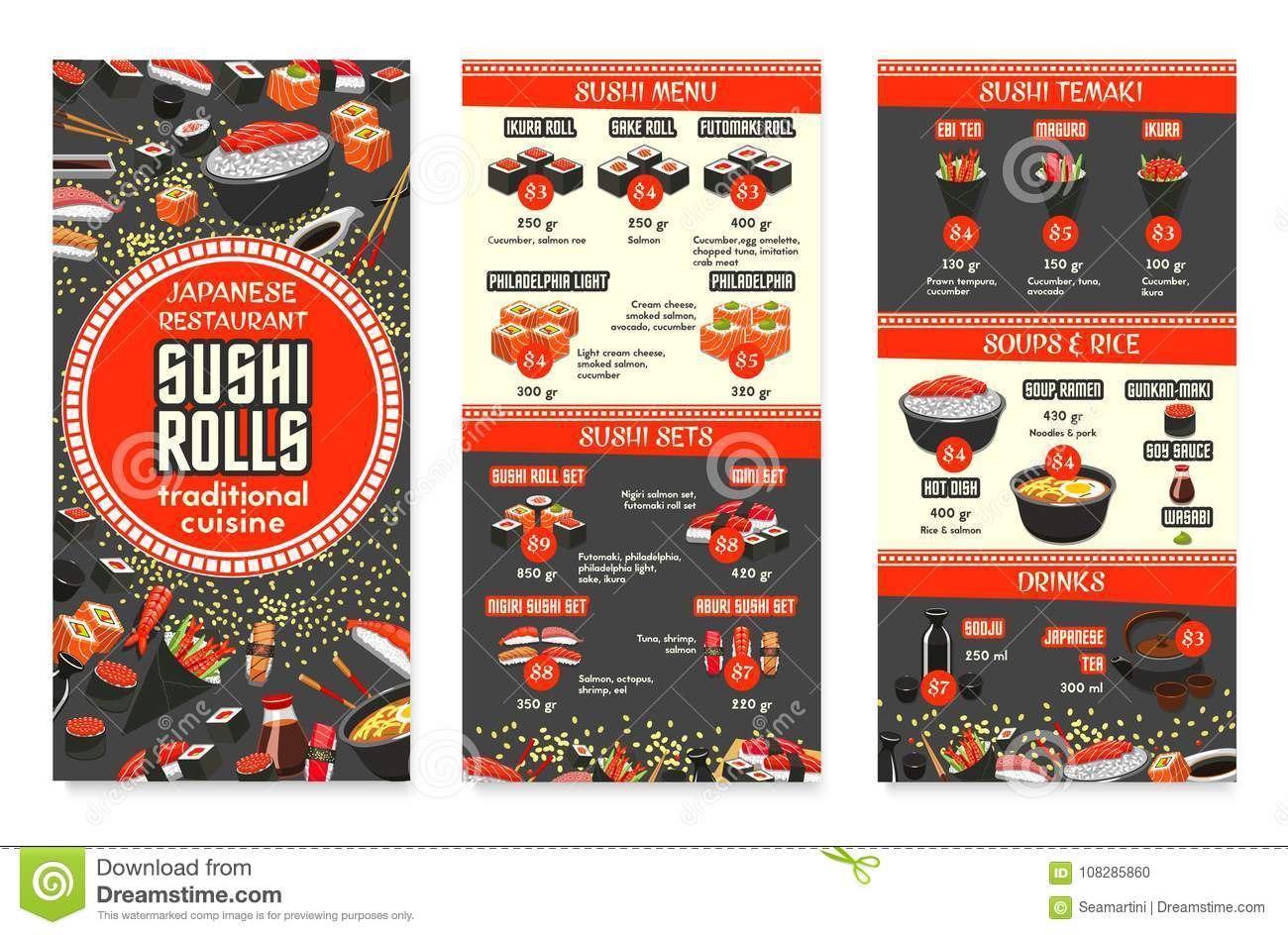 Vector Japanese Cuisine Asian Food Menu Design Stock Vector Pertaining To Asian Restaurant Menu Template