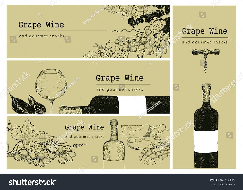 Vector Template Card Label Banner Background Stockvektorgrafik With Wine Bottle Label Design Template