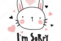 Vector Template Greeting Card Sorry Text Cute Bunny Illustration for Sorry Card Template