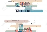Vector Thin Line Medical Poster Banner Templates Royalty Free with Medical Banner Template