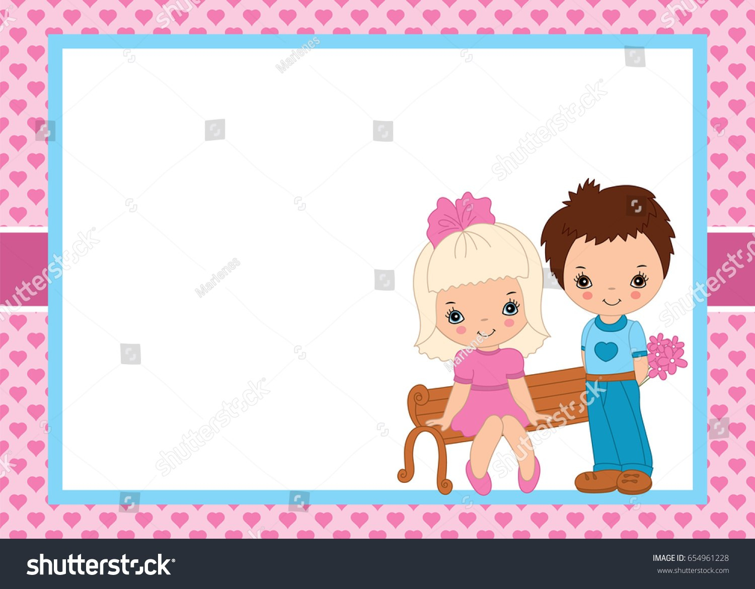 Vector Valentines Greeting Card Template Cute Stock Vector Royalty Inside Small Greeting Card Template