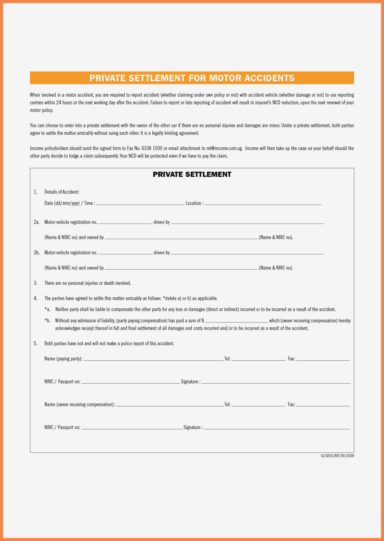 Vehicle Accident Settlement Agreement  The Best Settlement In Word With Damages Settlement Agreement Template