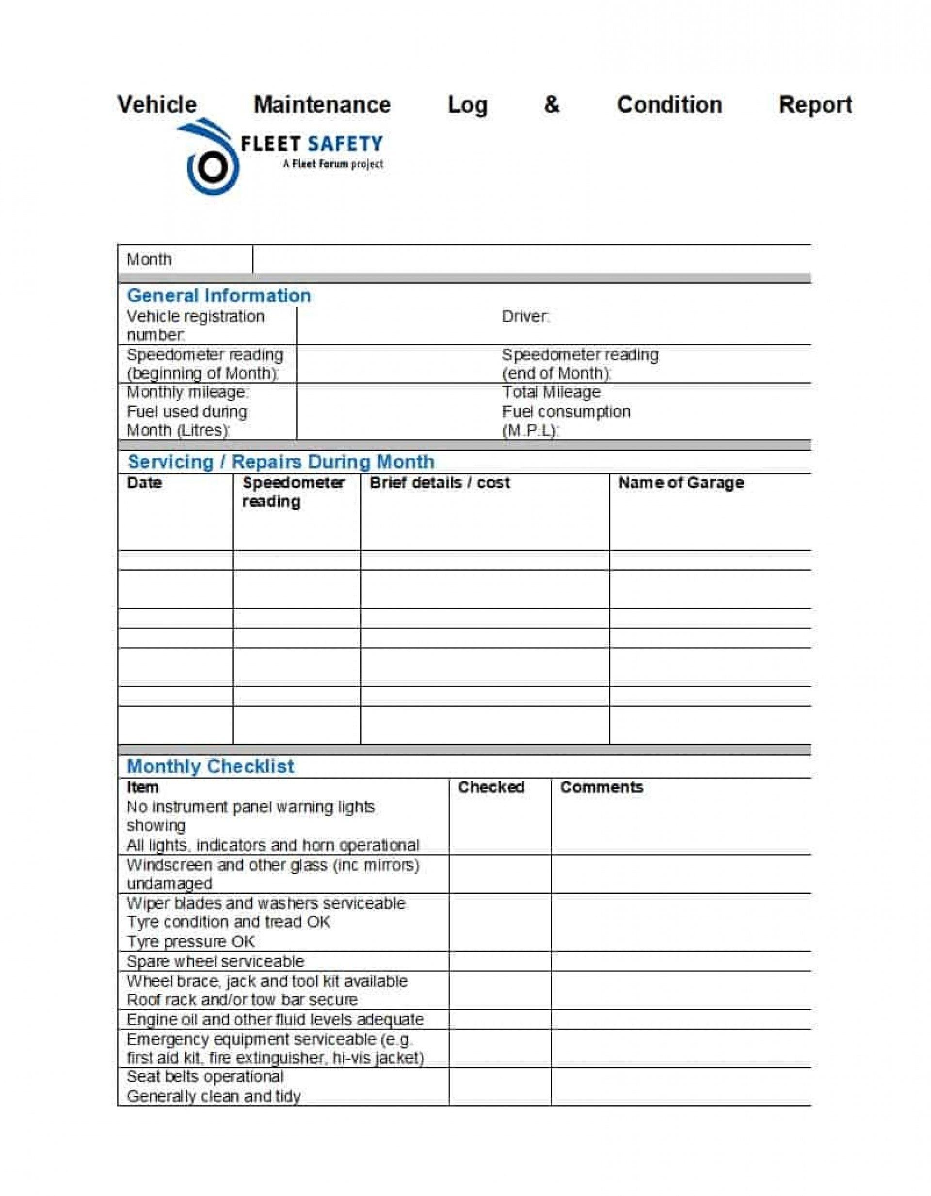 Vehicle Fleet Management Spreadsheet Auto Maintenance Schedule Within Fleet Management Report Template