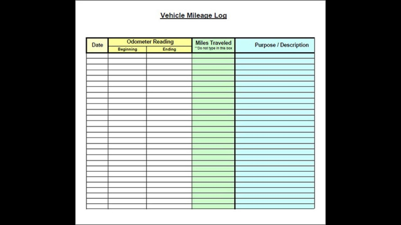 Vehicle Mileage Log Template Excel  Youtube Inside Mileage Report Template