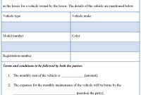 Vehicle Rental Agreement   Best Of Car Lease Agreement Form pertaining to Lease Of Vehicle Agreement Template
