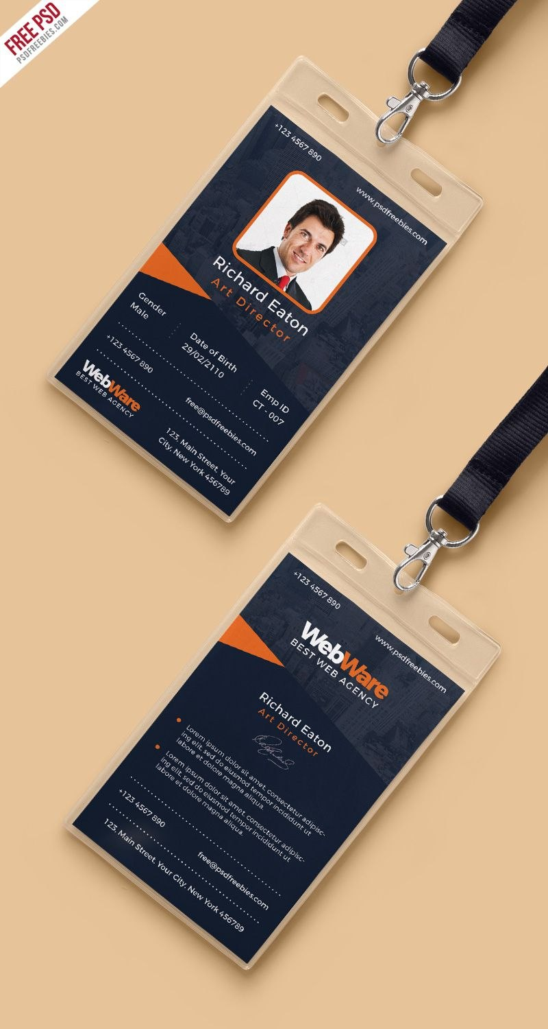 Vertical Company Identity Card Template Psd  Psd Print Template Inside Company Id Card Design Template
