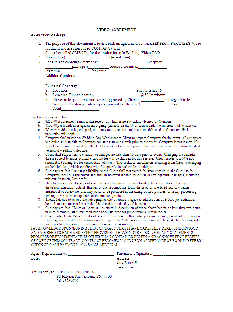 Video Editing Contract  Bonsai In Load Confirmation And Rate Agreement Template