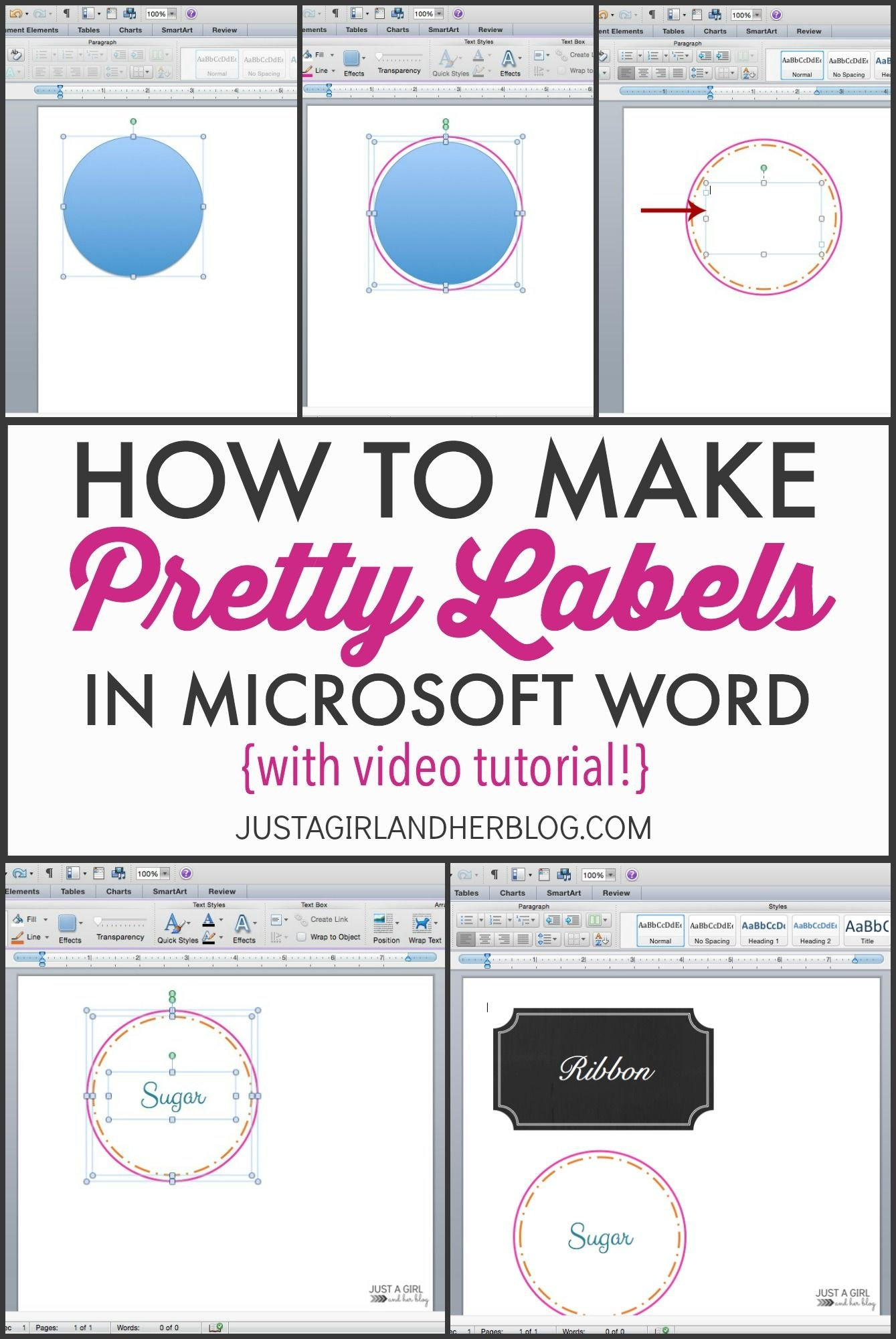 Video How To Make Pretty Labels In Microsoft Word  Silhouette Throughout Pretty Label Templates