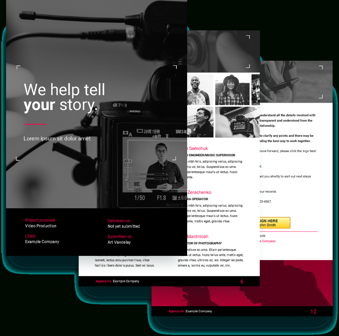 Video Proposal Template  Free Sample  Proposify In Free Internet Advertising Contract Template