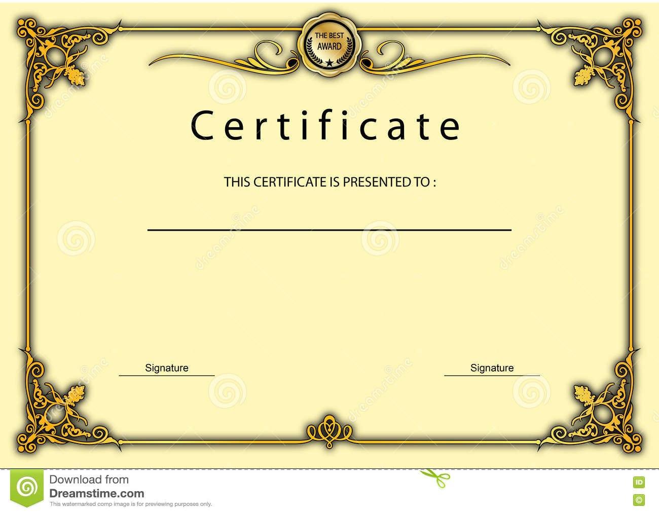 Vintage Certificate Award  Diploma Template Stock Illustration Inside Beautiful Certificate Templates