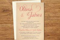 Vintage Custom Wedding Invitation Printable Templateecard Wedding with Wedding Card Size Template