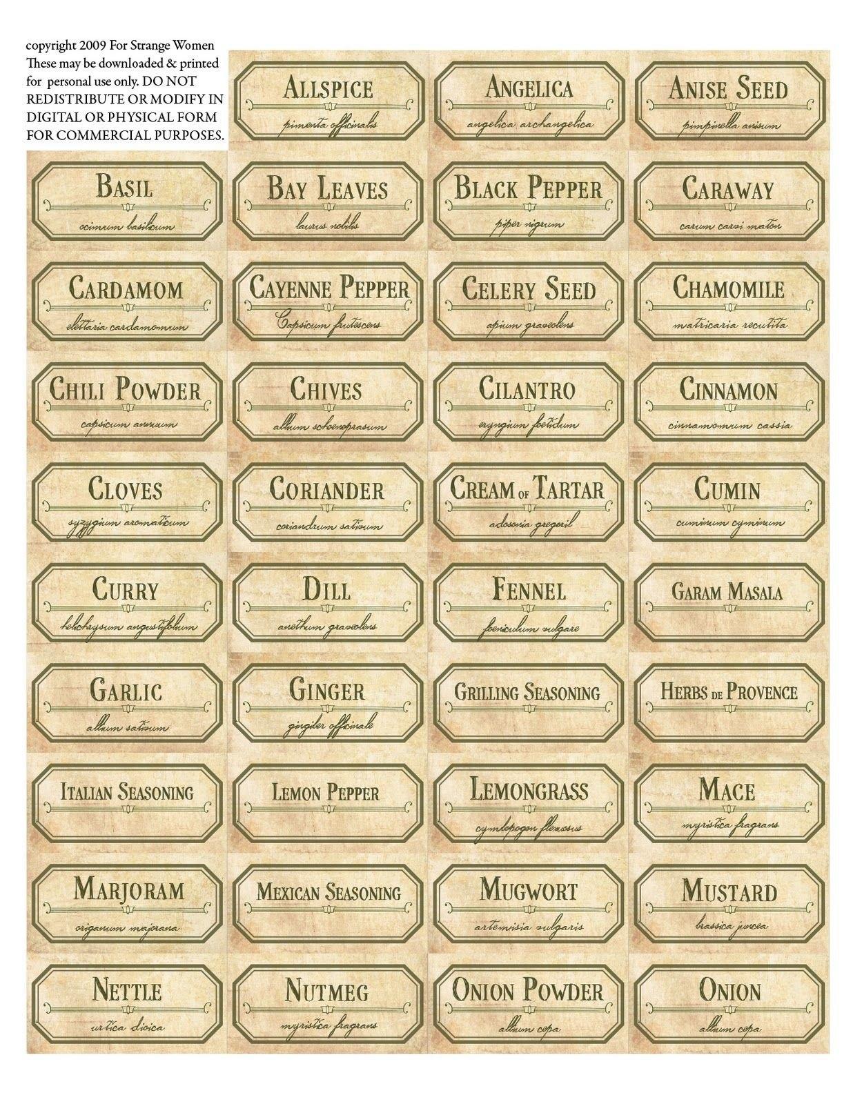 Vintage Spice Jar Labels Free Printable Label Templates  Spice Intended For Templates For Labels For Jars