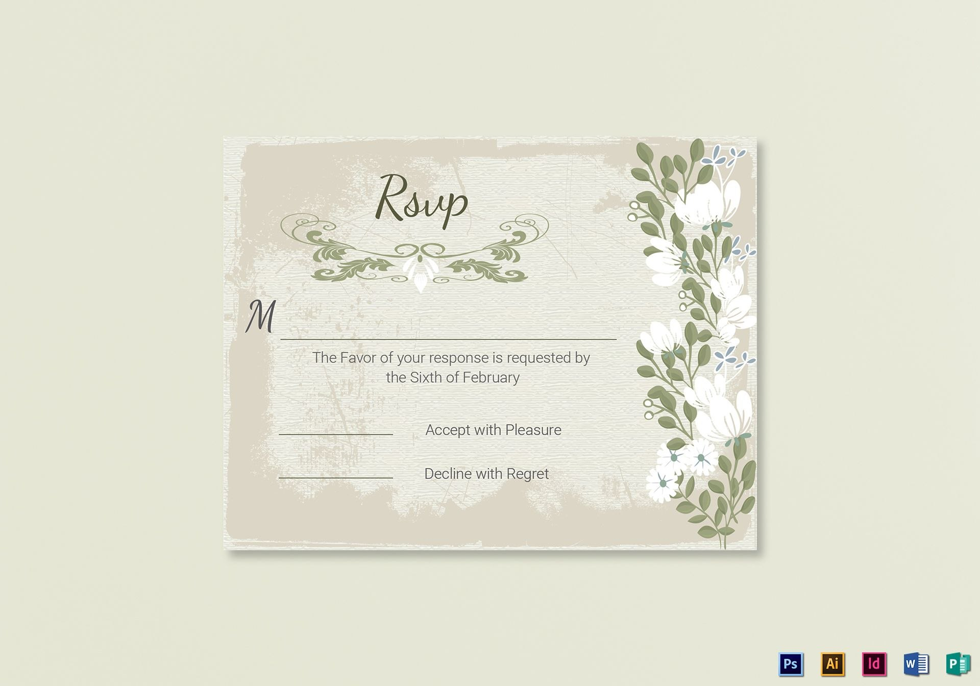 Vintage Wedding Rsvp Card Template In Psd Word Publisher Pertaining To Template For Rsvp Cards For Wedding