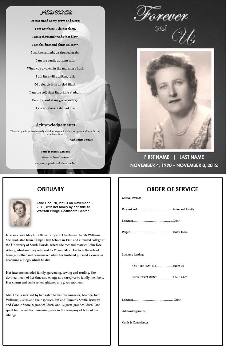 Virgin Mary Memorial Program  Funeral  Funeral Program Template Inside Memorial Cards For Funeral Template Free