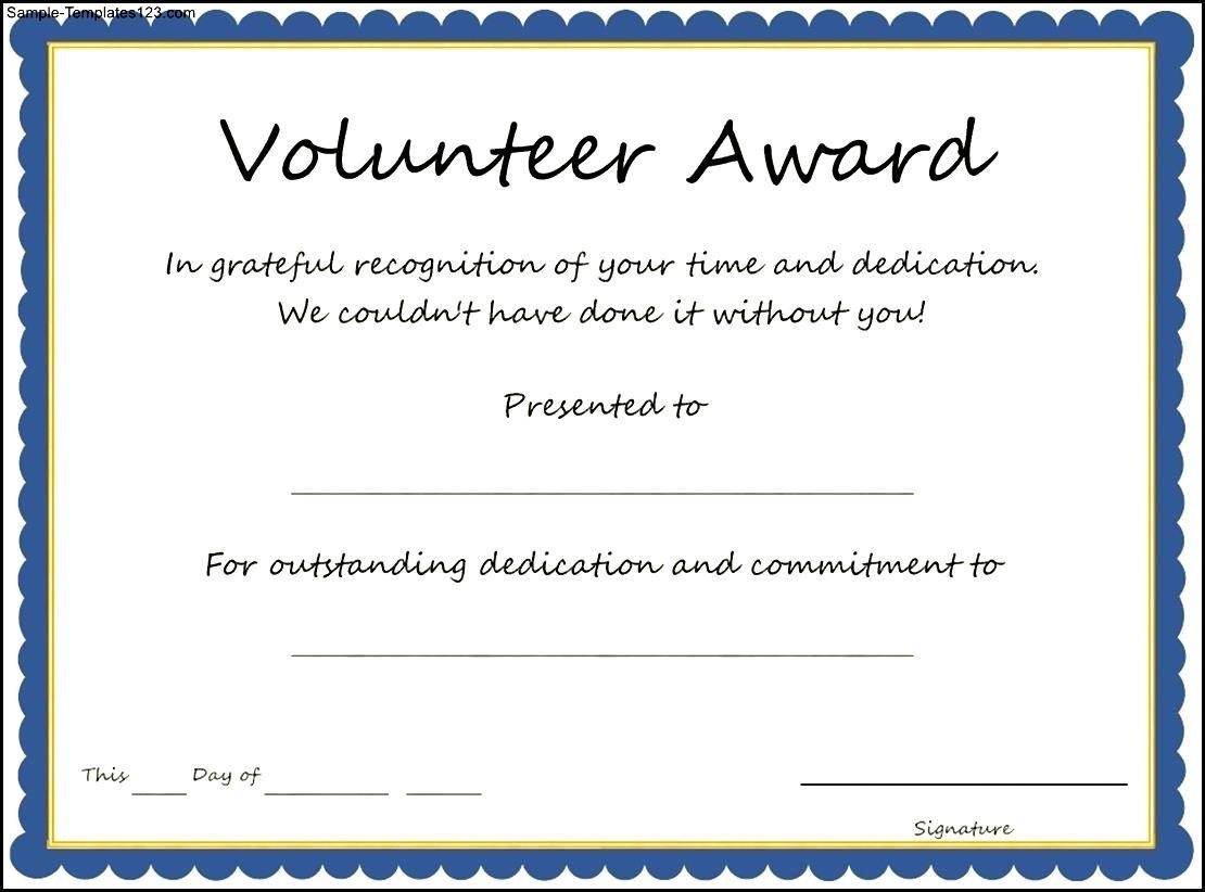 Volunteer Certificate Template  Free Download  Dtemplates Regarding Volunteer Certificate Template