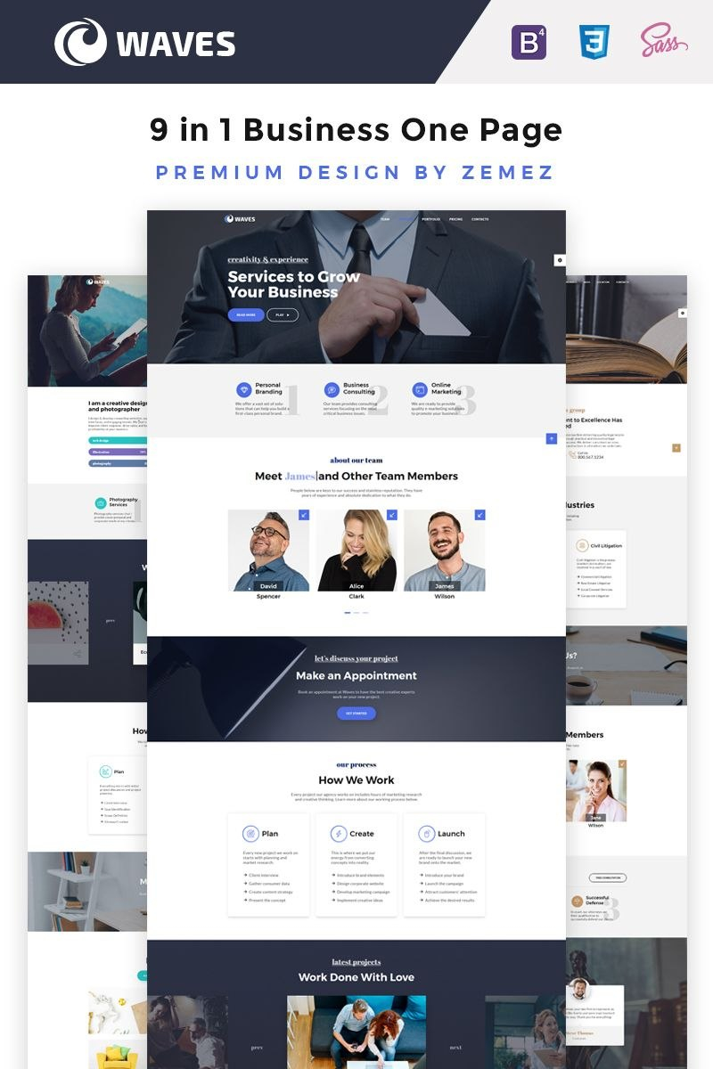 Waves   In  Business One Page Website Template  Ideas  Website In One Page Business Website Template