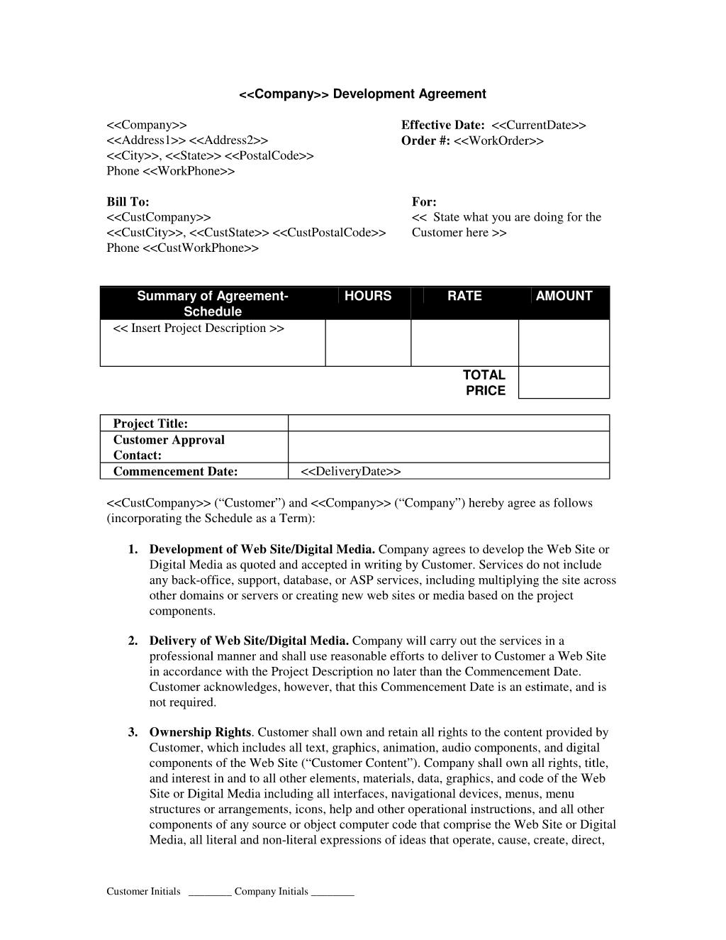 Web Development Short Form Contract Canada  Web Development Intended For Website Development Agreement Template