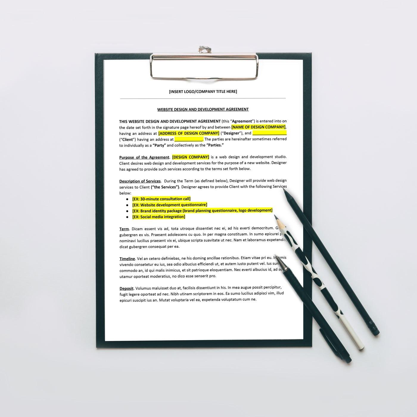 Website Design Agreement  Zara Watson Law Within Brand Development Agreement Template