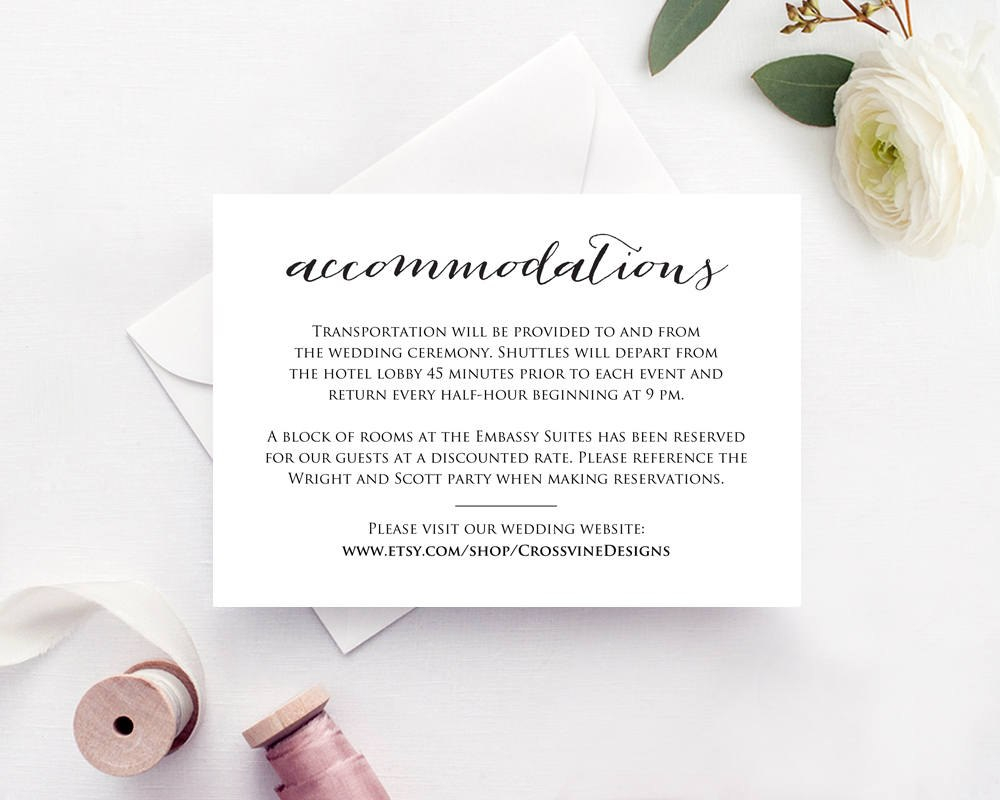 Wedding Accommodations Card Insert · Wedding Templates And Printables With Regard To Wedding Hotel Information Card Template