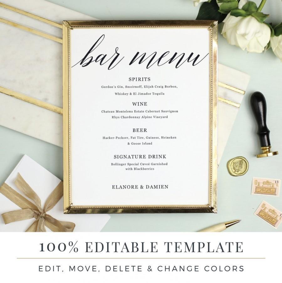 Wedding Bar Menu Template Editable Bar Menu Printable Word Or With Regard To Menu Template For Pages
