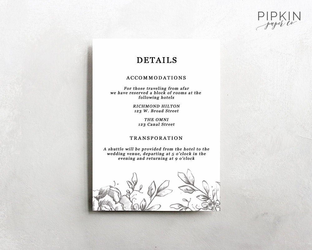 Wedding Details Template Information Card Template Wedding  Etsy Intended For Wedding Hotel Information Card Template