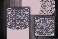 Wedding Invitation Card Template X'' X'' Laser Cutting  Etsy pertaining to Silhouette Cameo Card Templates