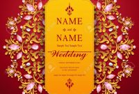 Wedding Invitation Card Templates With Gold Patterned And Crystals in Invitation Cards Templates For Marriage