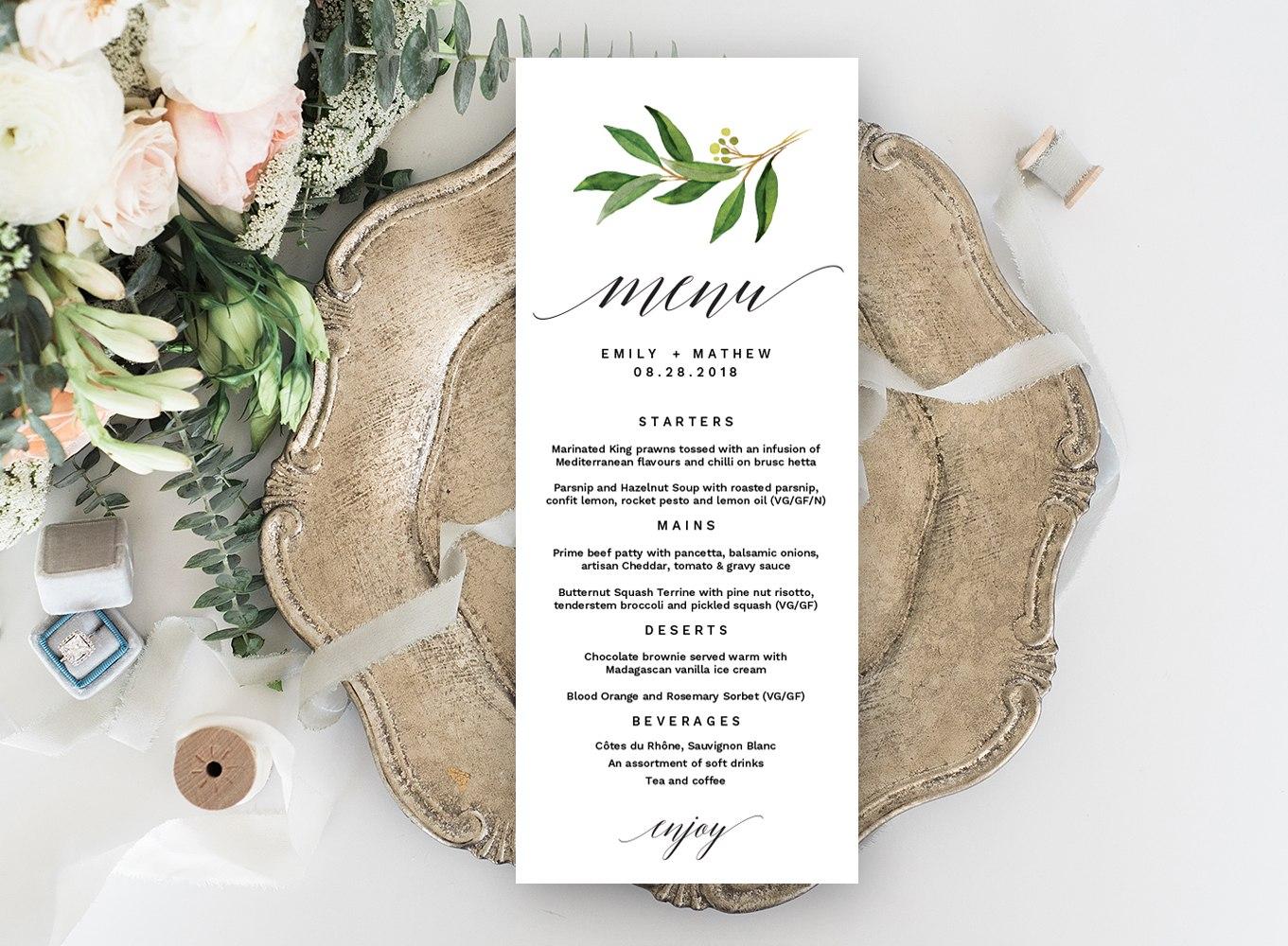 Wedding Menu Editable Template  Pixelify  Best Free Fonts Mockups With Regard To Editable Menu Templates Free
