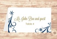 Wedding Place Card Diy Template Navy Swirling Snowflakes Editable in Wedding Place Card Template Free Word