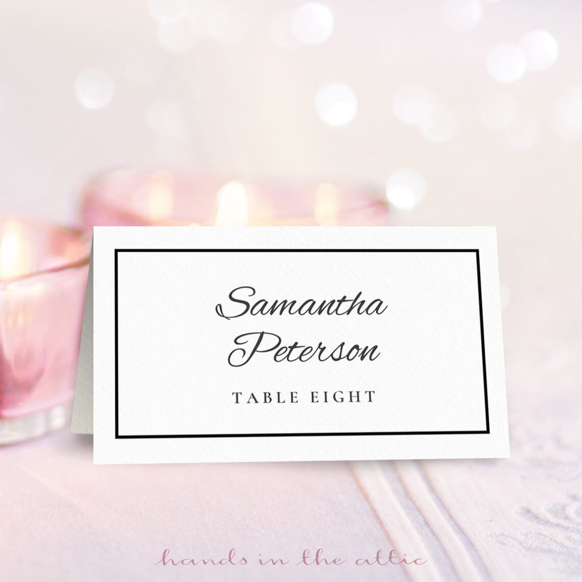 Wedding Place Card Template  Free On Handsintheattic  Free Intended For Table Place Card Template Free Download
