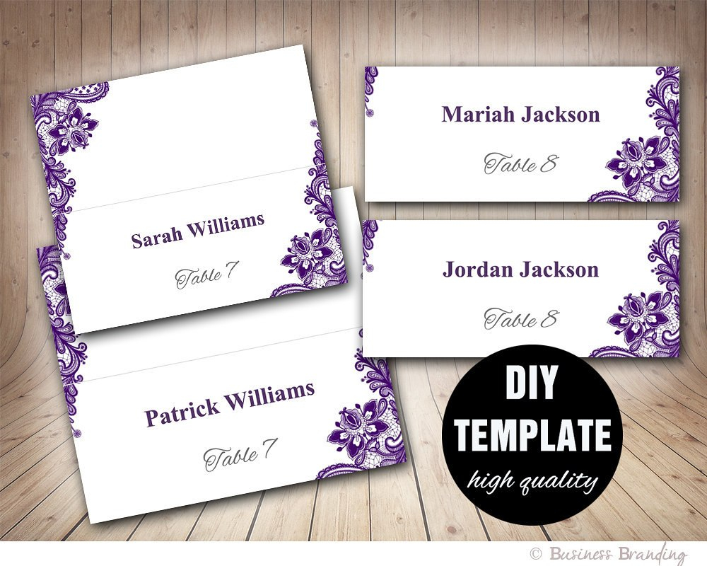 Wedding Placecard Template Foldover Diy Purple Place  Etsy Throughout Fold Over Place Card Template