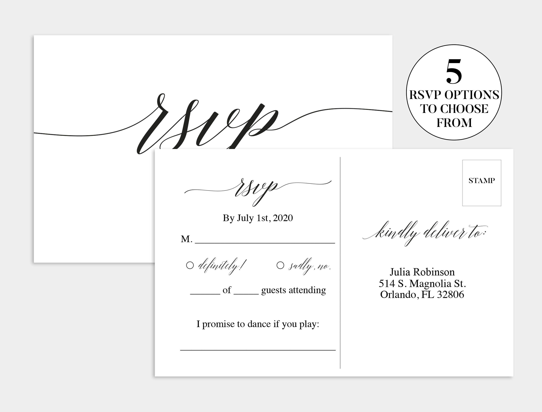 Wedding Rsvp Card  Wedding Rsvp Template  Wedding Rsvp Postcard With Regard To Template For Rsvp Cards For Wedding