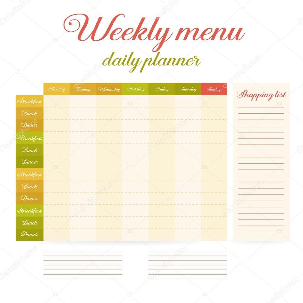 Weekly Eating Menu Daily Planner — Stock Vector © Helentosh Regarding Breakfast Lunch Dinner Menu Template