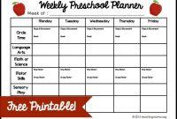 Weekly Preschool Planner Free Printable throughout Blank Preschool Lesson Plan Template