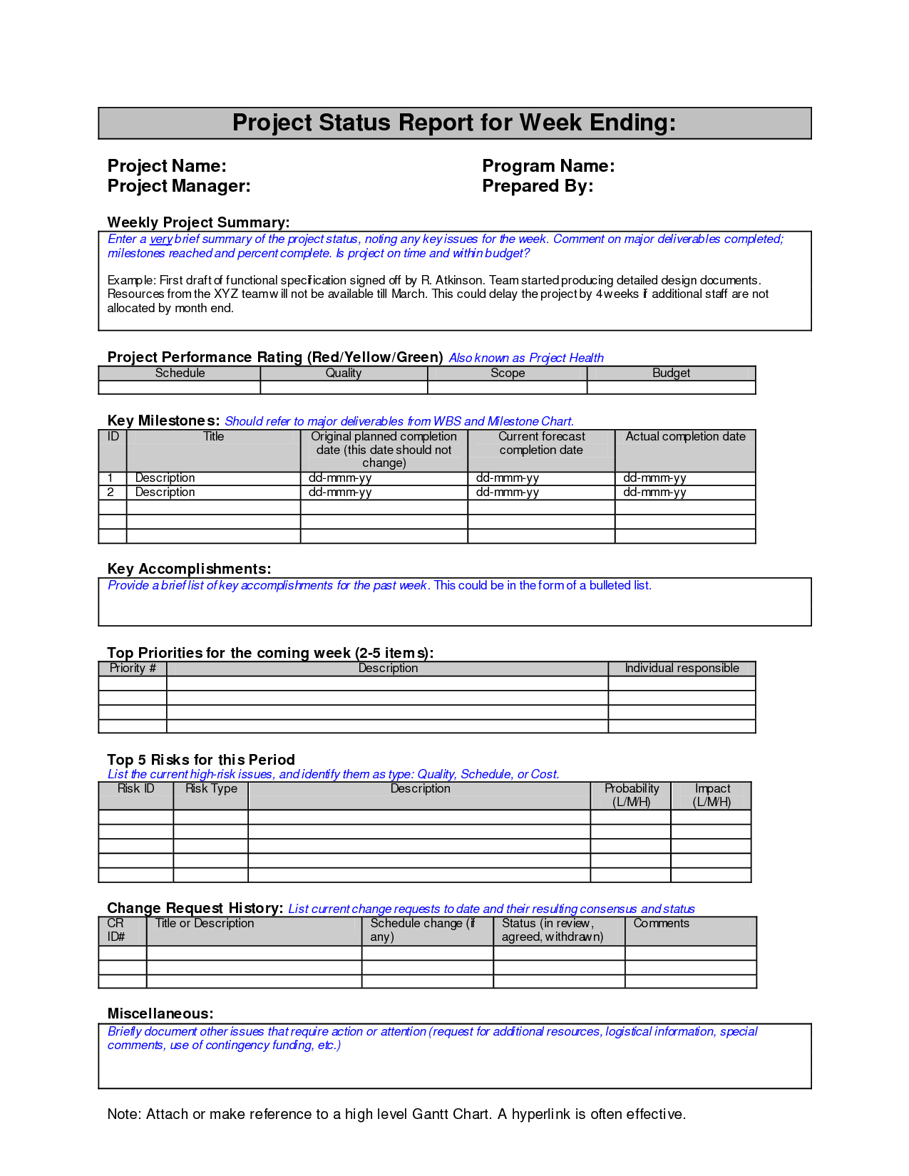 Weekly Project Status Report Sample  Google Search  Work  Project Within Mi Report Template