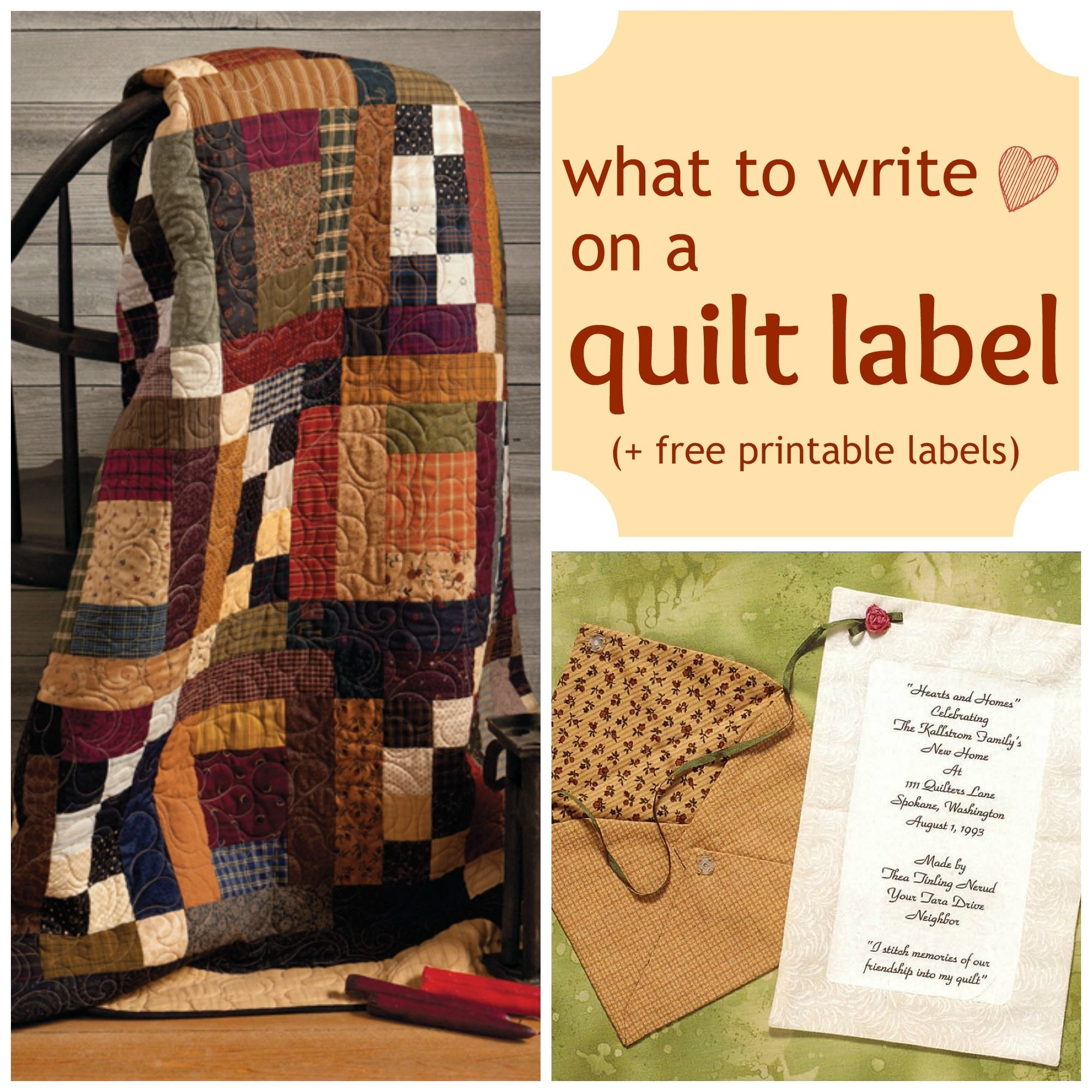 What To Write On A Quilt Label  Free Quilt Labels To Print With Regard To Quilt Label Templates