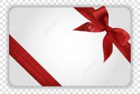 White Blank Gift Card Template With Red Ribbon And A Bow Vector regarding Present Card Template